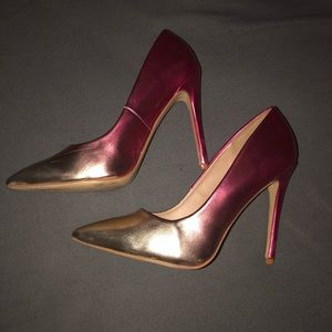 Size 12 hot pink and gold ombré heels
